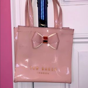 Ted Baker Pink Shiny Small Bow Shopper Bag